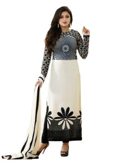 RedHot Georgette Unstitched  White Designer Salwar Suit (RHBF1001) White - RedHot