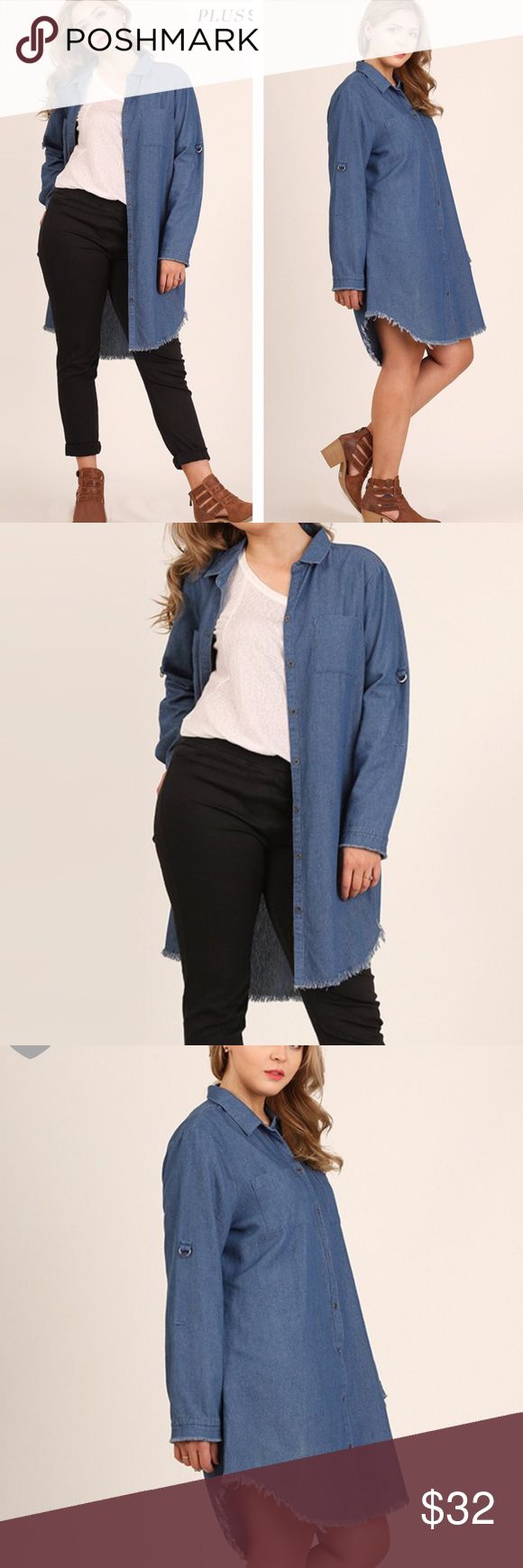 VERSATILE DENIM JACKET, TUNIC OR DRESS! Timeless denim topper, tunic or mini with boyfriend loose hem. Sleeves roll up or down with tab. Snap closure. Measurements upon request. tla2 Tops Button Down Shirts