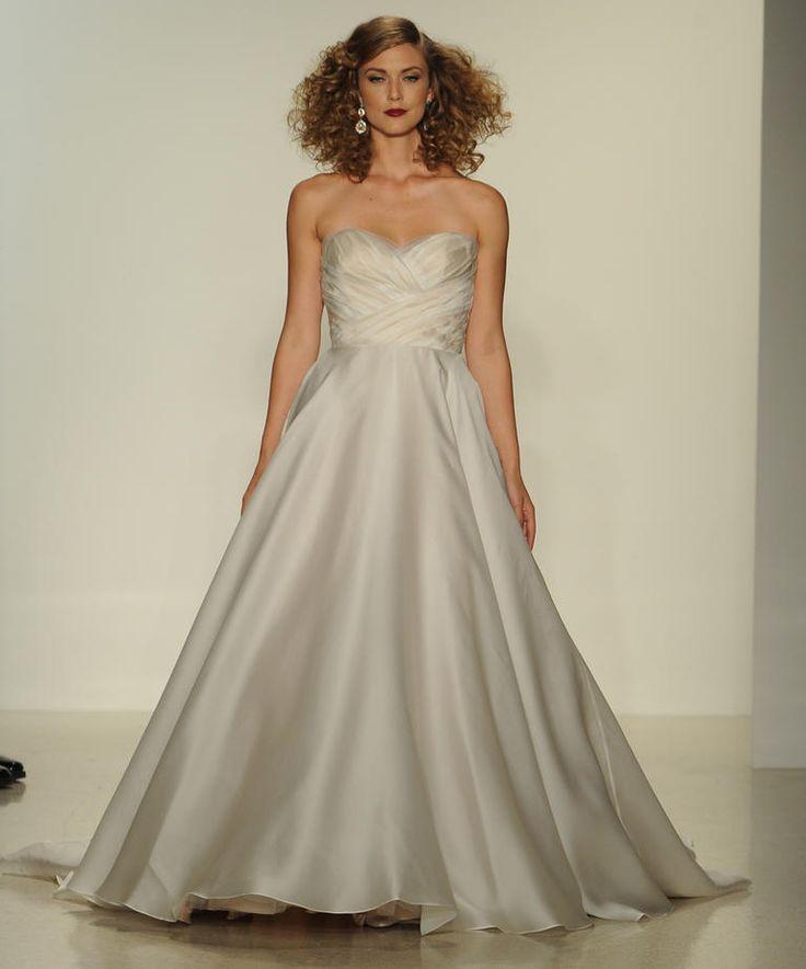 Matthew Christopher Fall 2016 strapless silver wedding dress with sweetheart neckline | https://www.theknot.com/content/matthew-christopher-wedding-dresses-bridal-fashion-week-fall-2016