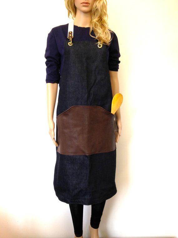 Leather Apron - Denim Leather Aprons - Barista Roaster Cafe DIY Apron - Mens Cafe Restaurant Apron Uniform Leather Bib Apron - Made in UK