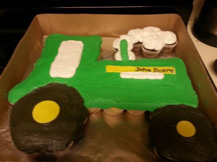 John Deere Tractor Cupcake Cake John Deere Cake Love The Emblem And