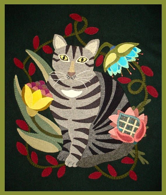 "Victorian Tabby strikes a regal pose among the menagerie of fanciful flora. Bright and rich colors used in this design, frame our furry feline, showcasing her noble features. This whimsical 20"" X 17"" original design is sure to compliment your homespun decor. Zoom in for close up pictures and details. This will aid you in choosing the wool colors and as a reference to assist you through the project. You will receive a clear 9 X 12 zip lock bag which includes: • colored cover page of the…"
