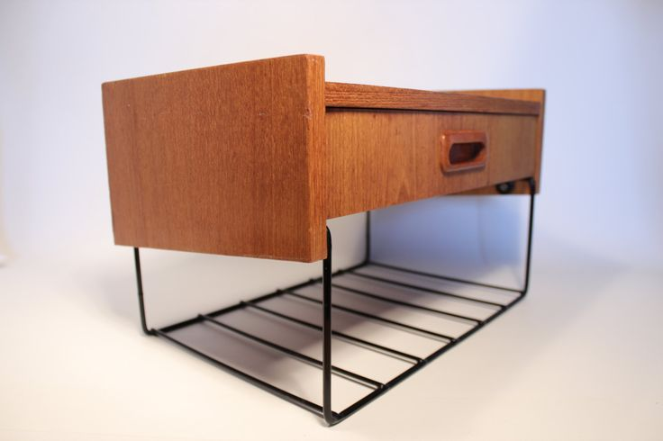 Vintage Wall mounted shelf Telephone shelf with drawer in Teak and String, Sweden. By wajretro