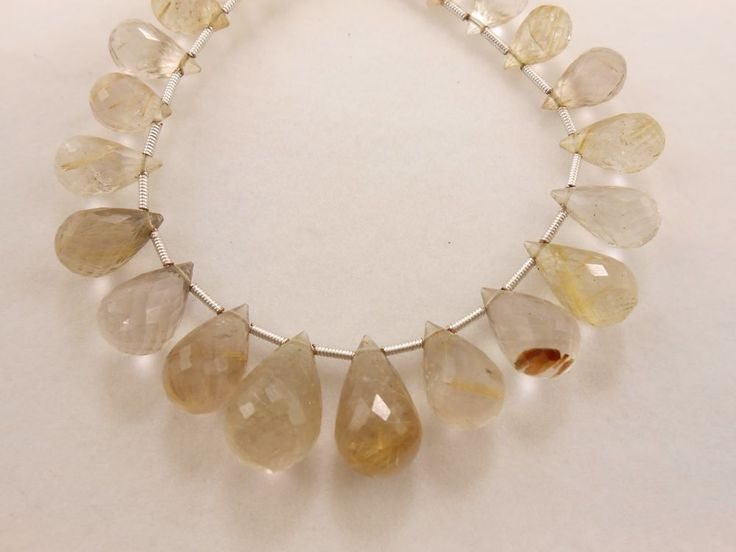 A+ Genuine Rutile Quartz Teardro Briolette Faceted Gemstone  Beads 22 PC,118 Cts #GEMSTONETOPPER #Faceted