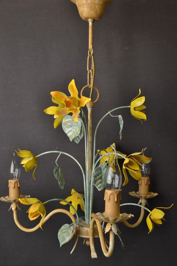 Vintage toleware chandelier with yellow flowers by LievreVintage