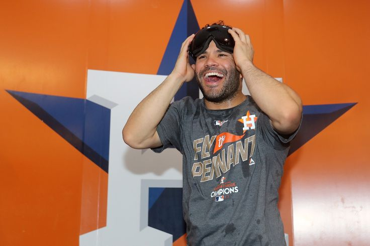 October 21, 2017:  Houston Astros advance to World Series after defeating Yankees 4-0 in ALCS Game 7.  HOUSTON, TX - OCTOBER 21: Jose Altuve #27 of the Houston Astros celebrates in the locker room after defeating the New York Yankees by a score of 4-0 to win Game Seven of the American League Championship Series at Minute Maid Park on October 21, 2017 in Houston, Texas. The Houston Astros advance to face the Los Angeles Dodgers in the World Series. (Photo by Elsa/Getty Images)