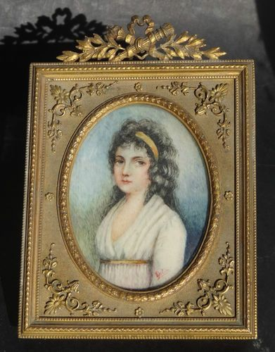 Portrait Miniature Paint Lady SIGNED Bronze Frame French