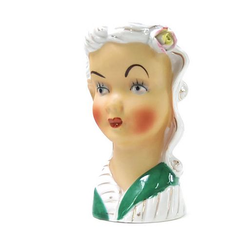 Vintage 1950s ceramic lady head vase.