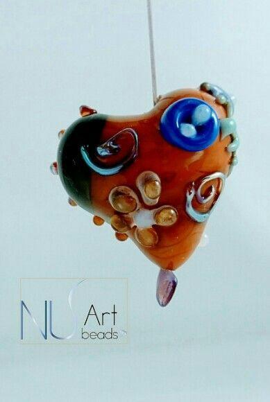Murano glass. Lampwork heart bead. Uniquely handmade. www. Nuartbeads.com