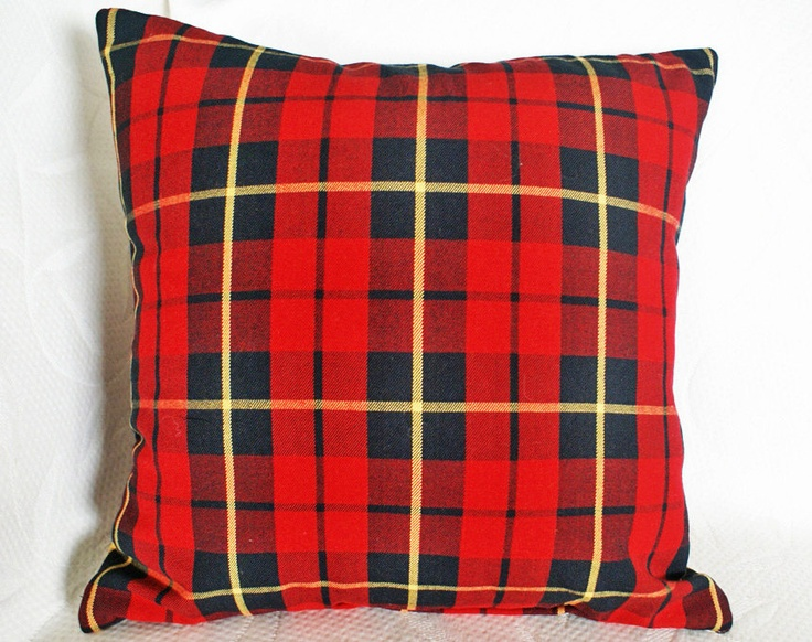 Decorative Plaid Pillows : Red Wool Plaid Pillow Decorative Christmas by PillowThrowDecor. These would be cute against our ...