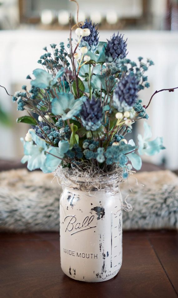 Mason Jar Painted Vase with Blue Silk Flowers
