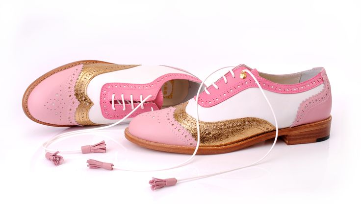 Pink Gold & White Classic ABO Brogues :: Online shop www.abo-shoes.com