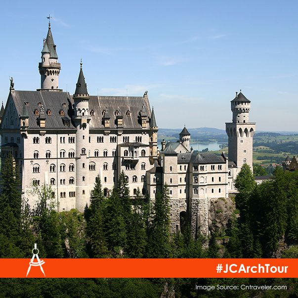 Neuschwanstein Castle was the inspiration for Disney's iconic Sleeping Beauty Castle, and is immortalized in the Disney's logo too. #JCArchTour