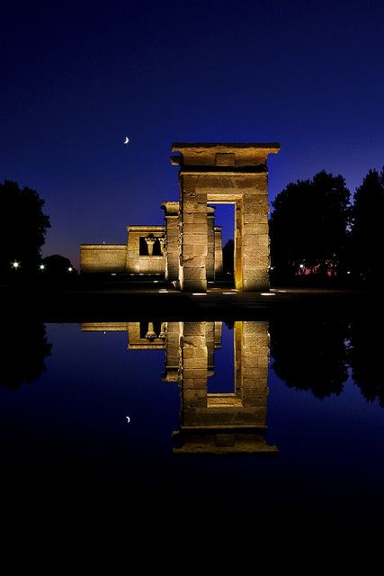 An Egyptian template in Spain? Templo de Debod (Temple of the Dead), Madrid  Originally build 15km south of Aswan in southern Egypt and moved in 1960 when the Great Dam of Aswan was constructed.  CruiseHolidaysNJ.com - Marlboro NJ (800) 284-2784