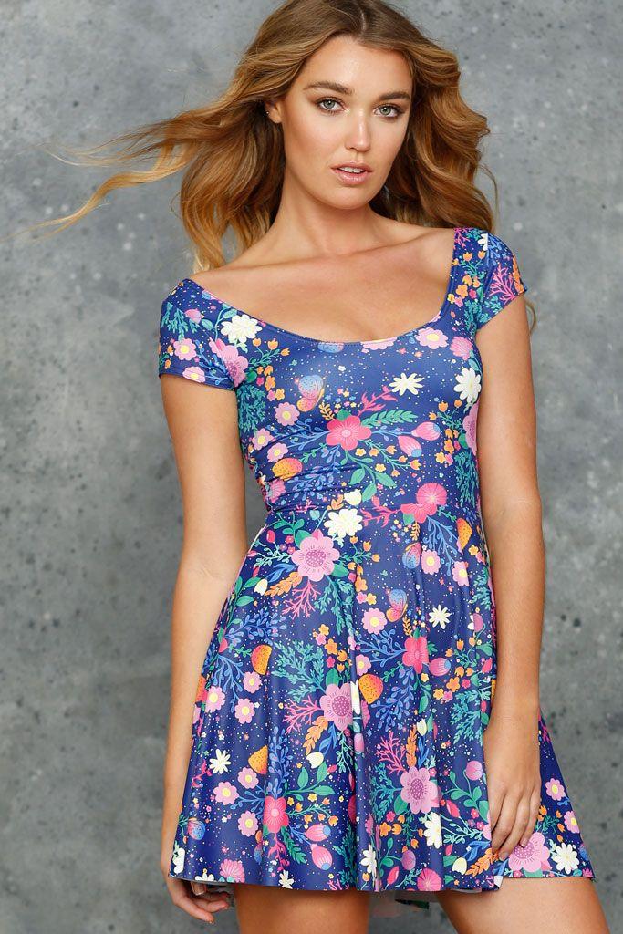 Unicorn's Garden Cap Sleeve Skater Dress - 48HR (AU $90AUD) by BlackMilk Clothing