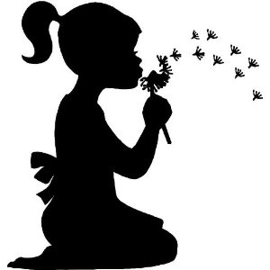 Little girl blowing dandelions wall art wall designs