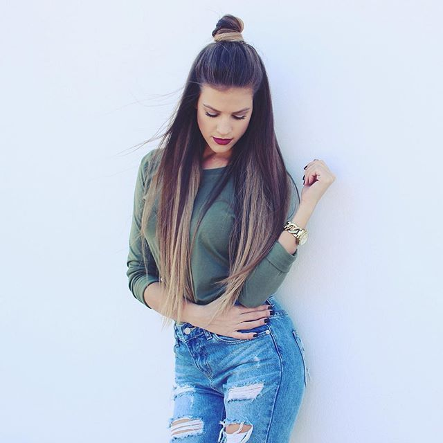 Karin Dragos || Military Green Top, Ripped Jeans, Top Knot And Burgundy Lips.