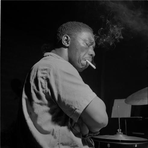 Art Blakey during his 'A Night In Tunisia' session, August 14 1960 (photo by Francis Wolff)