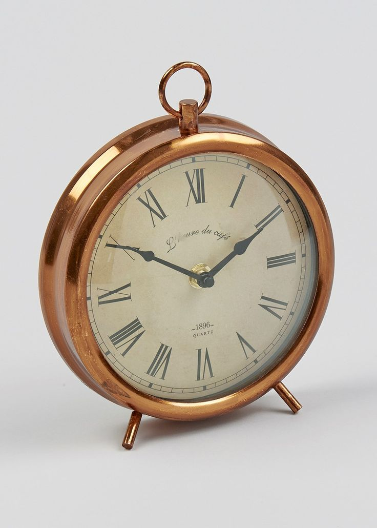 Round Antique Style Mantle Clock (19cm x 16.7cm)