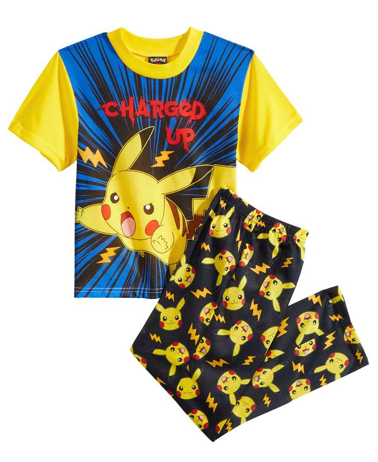 Pokemon 2-Pc. Charged Up Pikachu Pajama Set, Little Boys (4-7) & Big Boys (8-20)