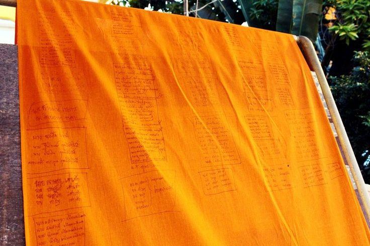 ORANGE, FABRIC, Phra Pathommachedi, THAILAND, TALLEST, PAGODA, RELIGION, BUDDHISM