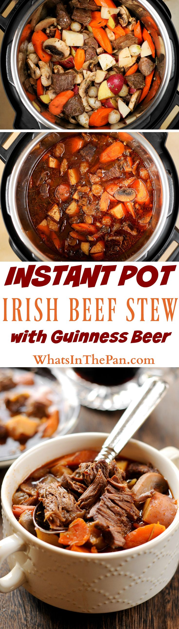 Instant Pot Irish Beef and Guinness Stew is a delicious savory dinner that takes only 35 minutes of cooking in the pressure cooker. Detailed instructions are provided. #instantpot #beef #pressurecooker