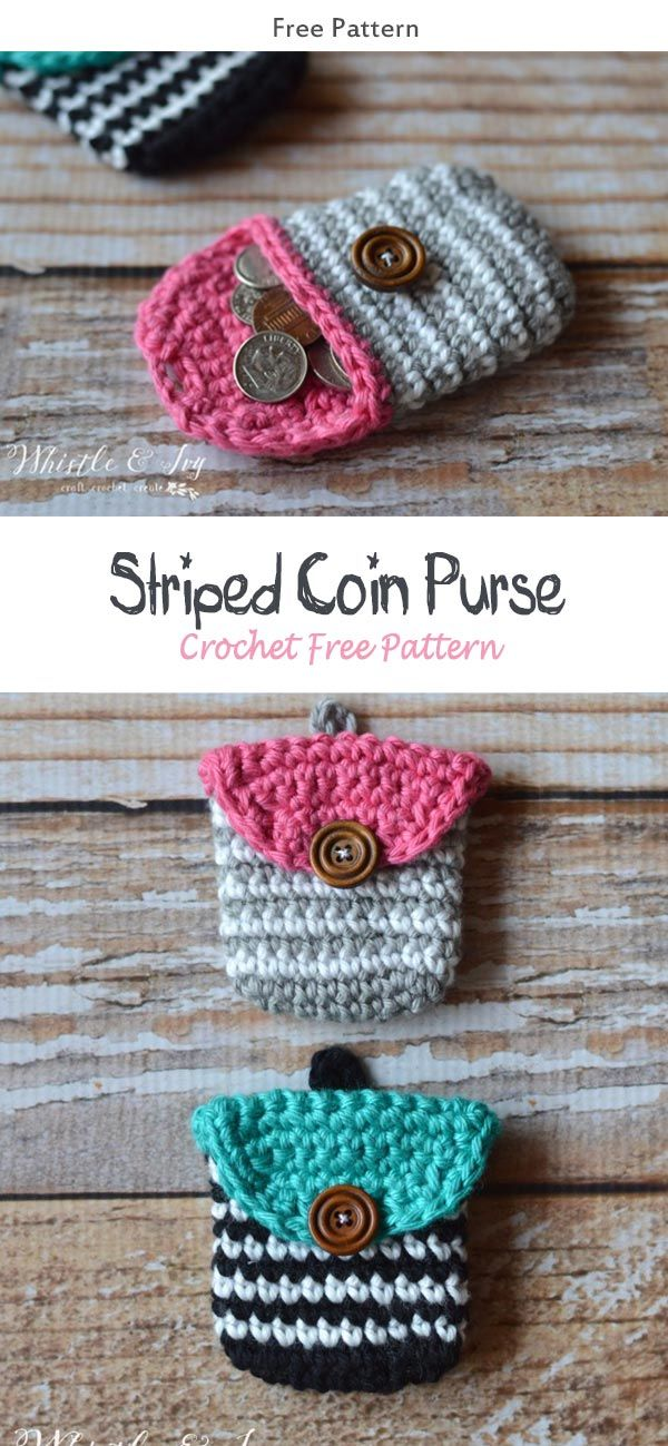 Striped Coin Purse Crochet Free Pattern #freecrochetpatterns #crochetbag