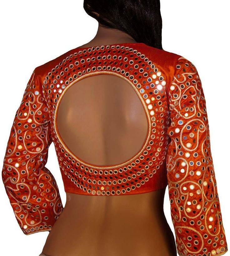 Beautiful mirror work blouse1 22 July 2016
