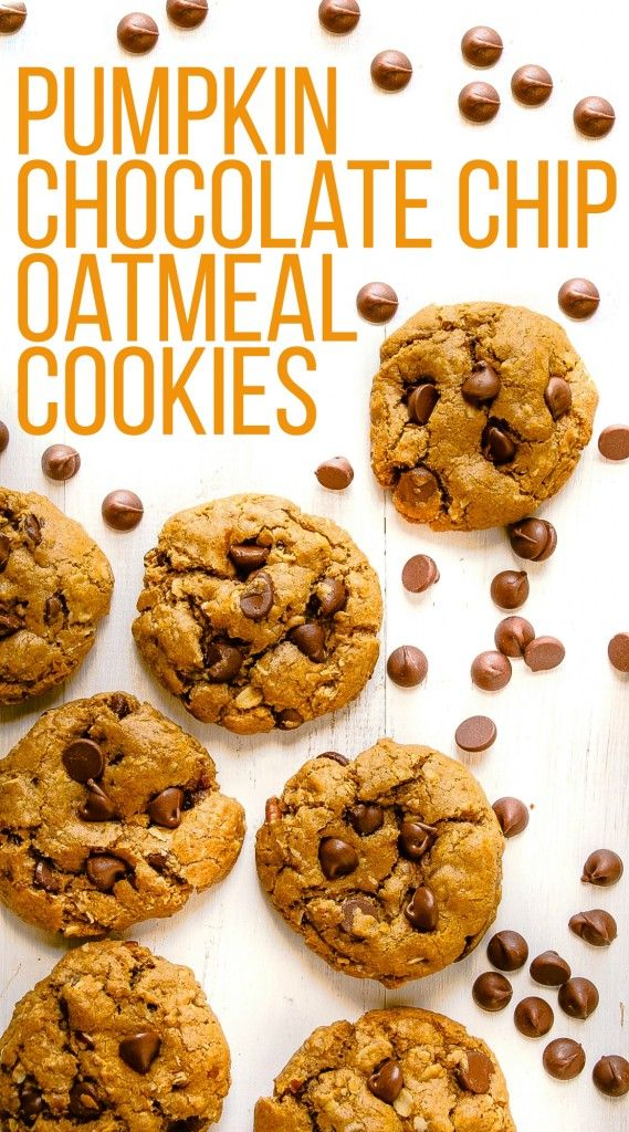 Pumpkin Chocolate Chip Oatmeal Cookies from @byjenandemily