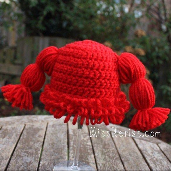 Cabbage Patch Kid hat on missneriss.com.  Based on a FREE pattern by Dearest Debi.