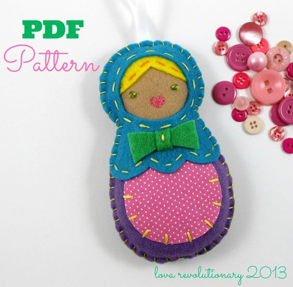 PDF Pattern Felt Nesting Doll Ornament Matryoshka Babushka DIY Tutorial Crafts #felt #crafts #handsewing #embroidery #pdfpattern #pattern #nestingdoll #matryoshka #babushka #handmade