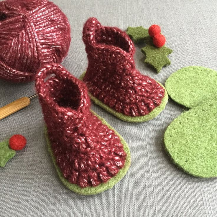 Our easy crochet Bruna boots are perfect for little boys and girls. These little baby bootees are quick to crochet in our lovely soft and silky yarn. The kit contains; 1 pair of felt soles 1 50g ball of chunky slipper yarn Instructions - all in an Organza bag. The yarn we have chosen for our little Bruna boots is an unusual mix of soft wool over a silky core yarn with a lovely sheen which shines through - the pictures show it better than the words!  The soles are made from our thick felt…