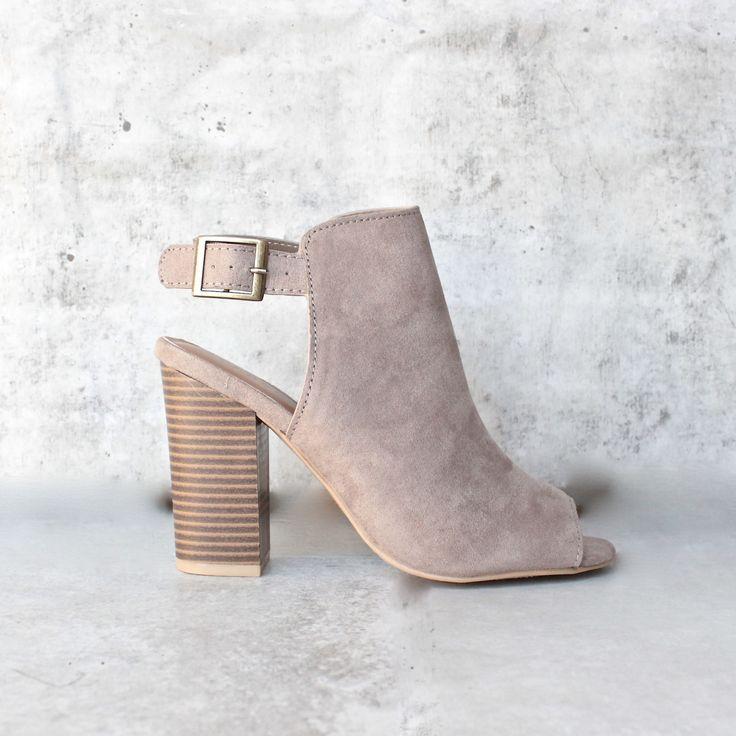 vegan suede sling back chunky peep toe heels - more colors - shophearts - 7