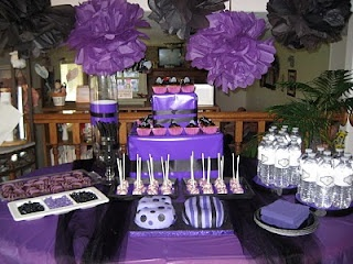deep purple dessert table I think lots of desserts is a cool idea!