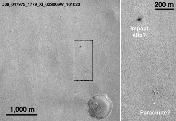 A pair of high-resolution images taken from high above Mars appears to show the impact site of ESA's Schiaparelli lander. The post Is This Schiaparelli s Crash Site on Mars? appeared first on Sky & Telescope.