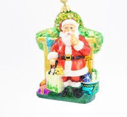 Mikołaj - Happy Holiday - Polskie bombki ręcznie malowane - sklep z ozdobami choinkowymi Komozja Family