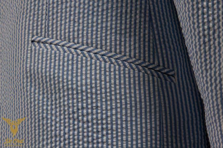 Seersucker Suit Slantet Welted Pocket
