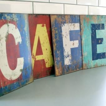 CAFE Plaques en métal vintage / Vintage metal plaque