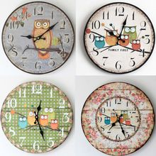 35*35CM Large Wall Clock Modern Design Owl Vintage Rustic Wall Clock Home Office Cafe Decoration Art  Wood Wall Clock  4 Types //Price: $US $25.99 & Up to 18% Cashback on Orders. //     #gifts
