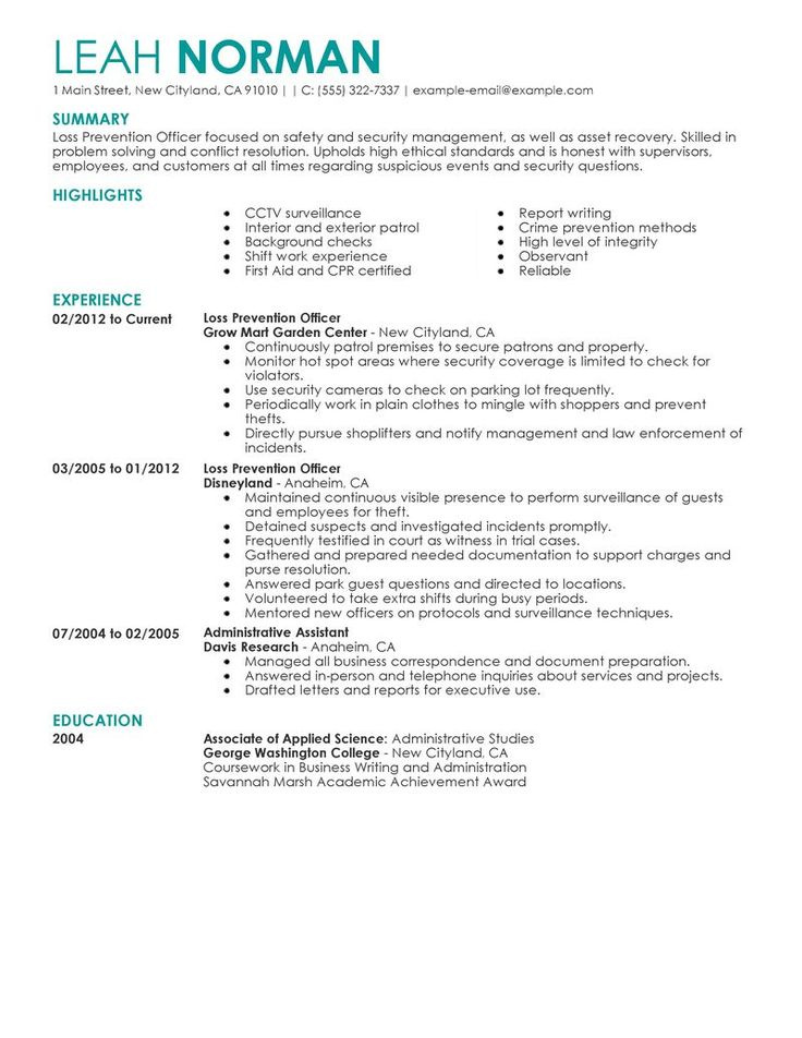 loss prevention resume example bold design ideas best officer
