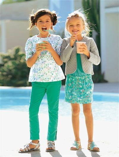 Popeline-Bluse für Mädchen MINT BEDRUCKT