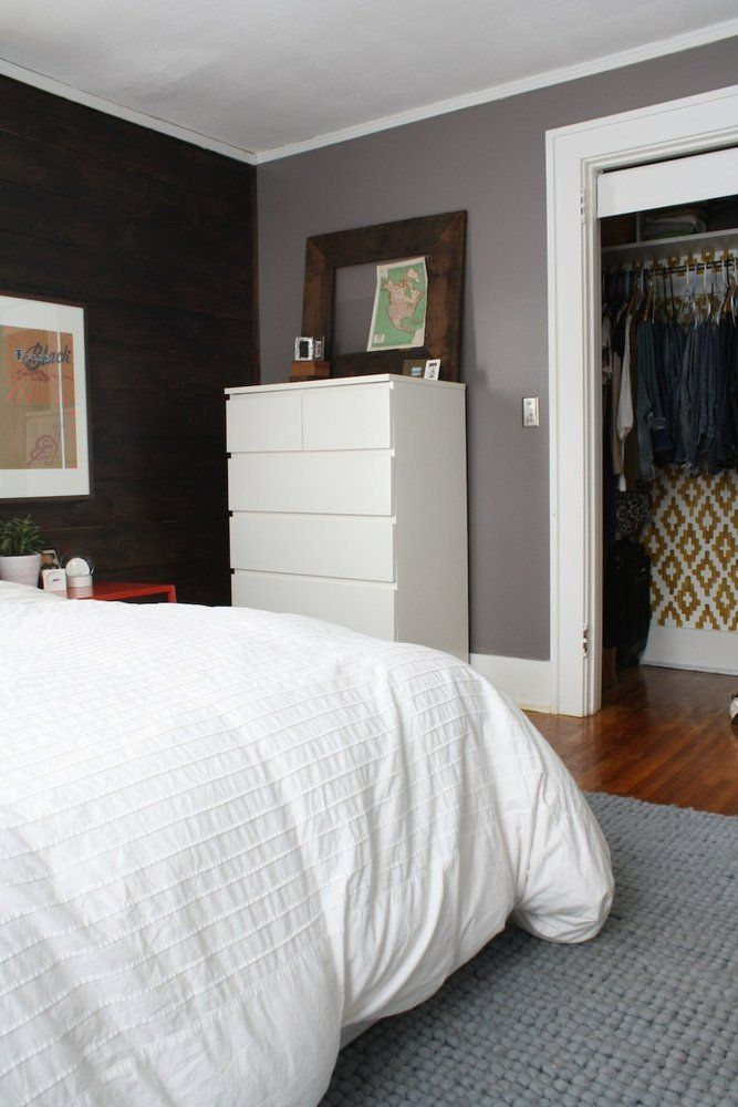 Cozy Comfortable Bedroom with Stenciled Closet