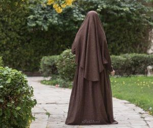 Brown hijab and matching abaya