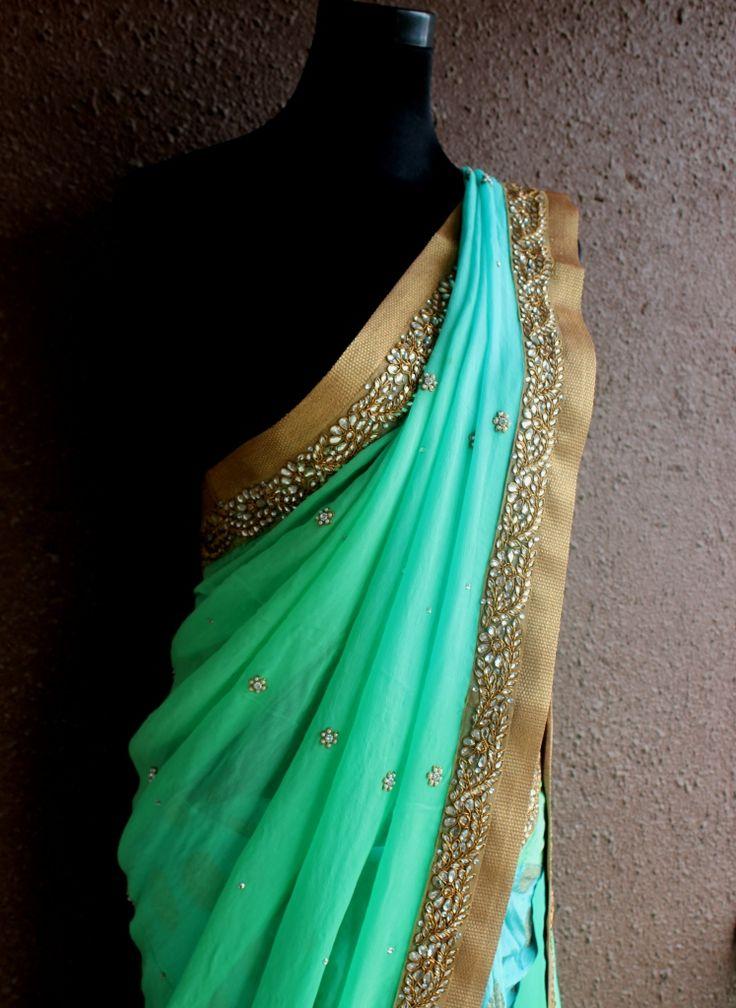 PSS180  Sea green saree with kundan-zardozi hand embroidery  More details : Watsapp on +91-9022 617481 or email : info@pritisahni.com