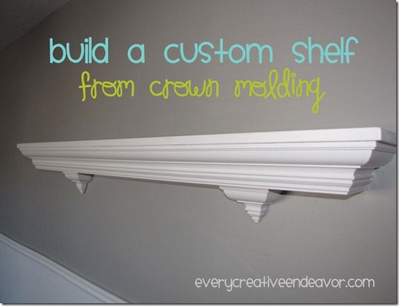 I'll be making super long shelves as my next project. To showcase all of our framed pictures on in the family room.   Build a Custom Shelf from Crown Molding {Tutorial}
