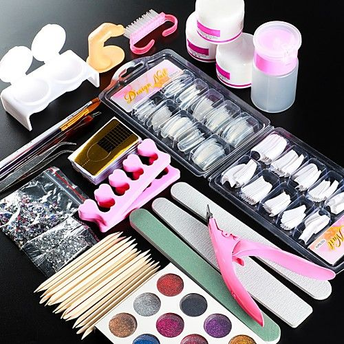 Nail Designs 2020 Acrylic Nail Art Kit Manicure Set 12 Colors Nail Glitter Powder Decoration Acrylic Pen Brush Nail Art Tool Kit For Beginners Arylic Liquid Nai In 2020 Nail Art