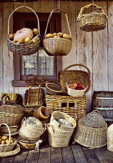 Baskets - perfect for the country home. Use them to hold everything or grouped to together to add charm.