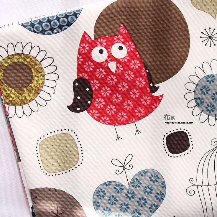 Специальное детское мультфильма сова птица луна белье хлопковый холст ткани дивана подушки скатерти - Taobao