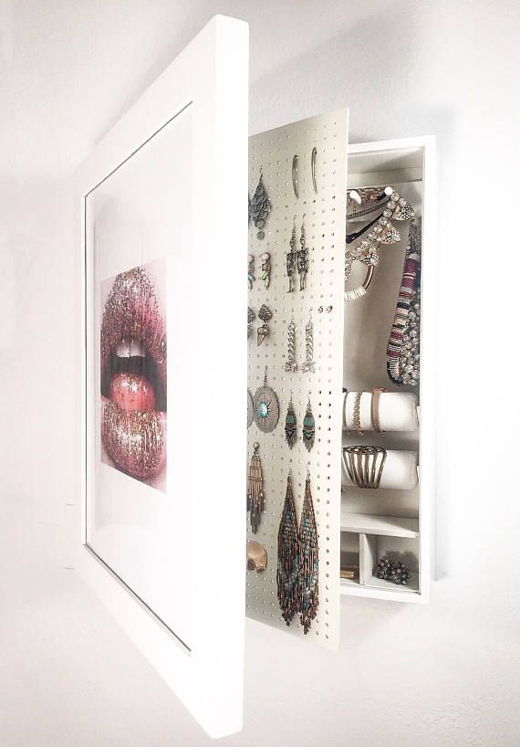 bianco  parete montato gioielli organizzatore Photo Frame