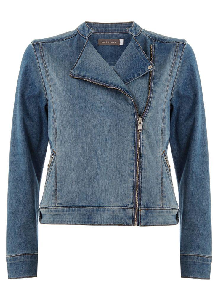 Indigo Denim Biker Jacket | Jackets | MintVelvet #MintVelvet #SS15 #MVSS15